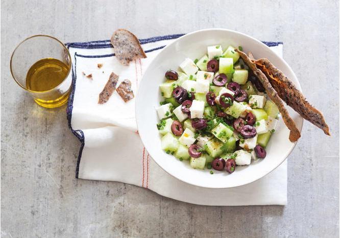 Greek Salad and Olive Chips